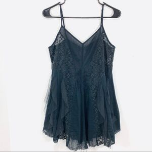 Intimately Free People Black Tulle Lace Tank Top